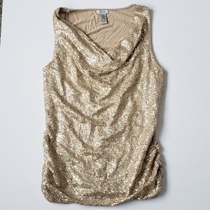 Cache   Gold Sequin Cowl Neck Sleeveless Blouse